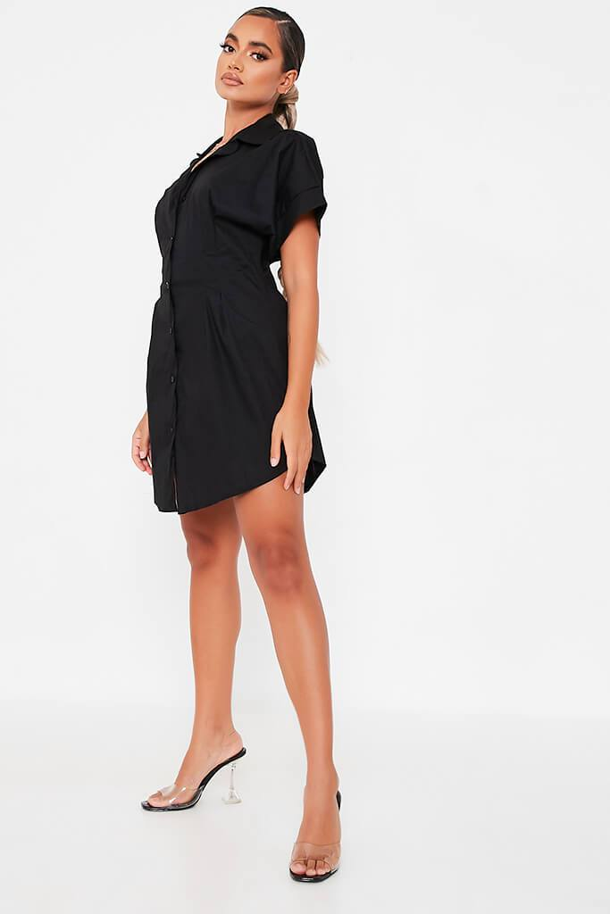 Black Cotton Cinched Waist Shirt Dress view 3