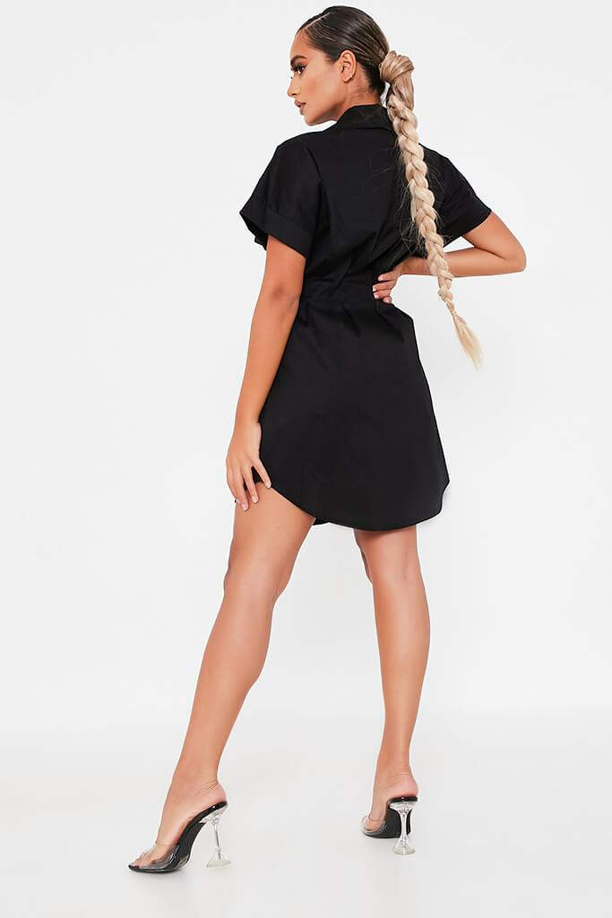 Black Cotton Cinched Waist Shirt Dress view 4