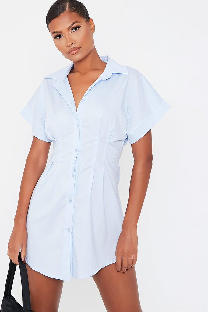 Baby Blue Cotton Cinched Waist Shirt Dress