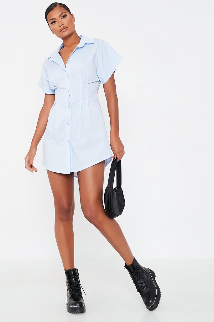Baby Blue Cotton Cinched Waist Shirt Dress view 2