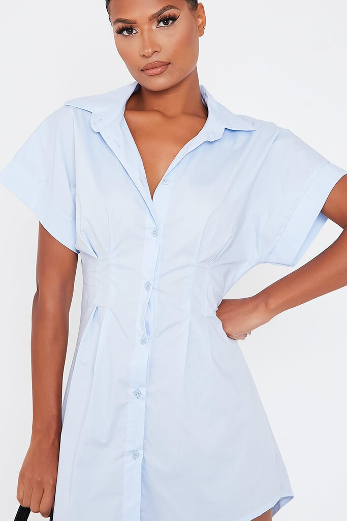 Baby Blue Cotton Cinched Waist Shirt Dress view 5