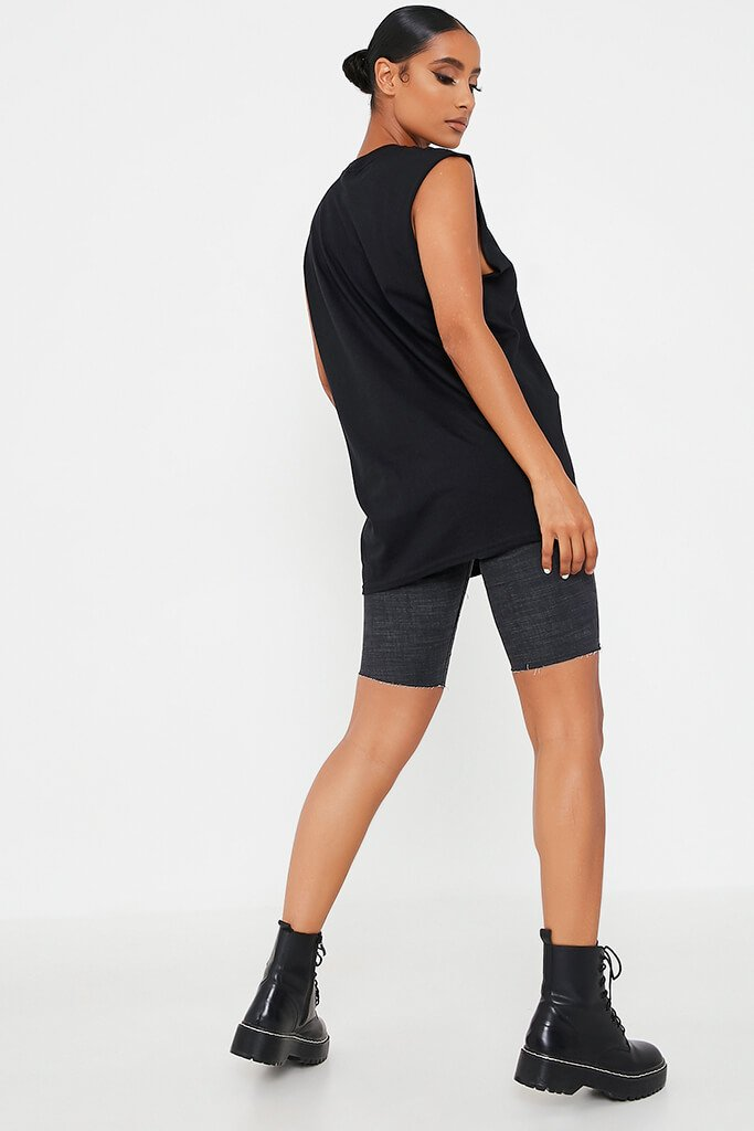 Black Fearless Sleeveless Oversized Top view 5