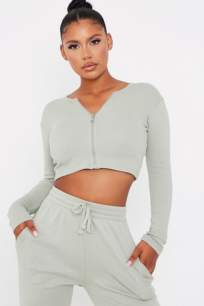 Sage Cotton Thick Rib Zip Front Long Sleeve Top