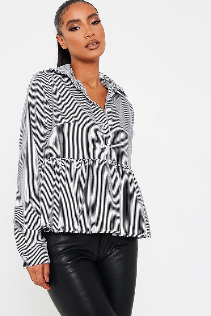 Black Cotton Woven Long Sleeve Smock Shirt view 4