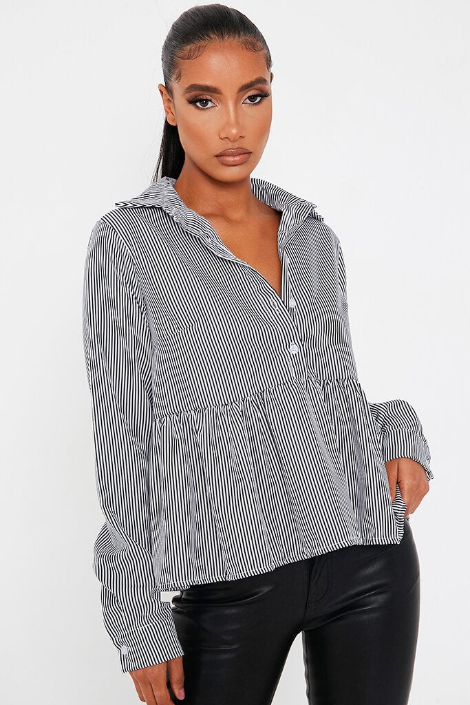 Black Cotton Woven Long Sleeve Smock Shirt view main view