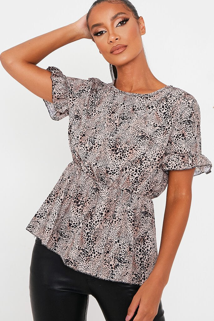 Brown Leopard Print Woven Short Sleeve Peplum Blouse