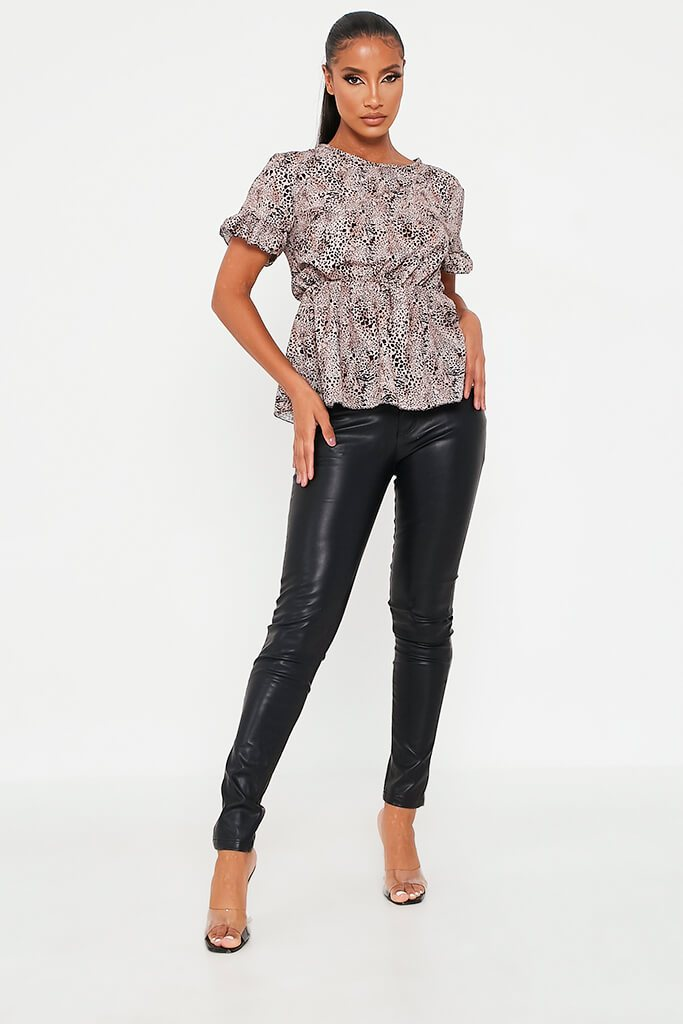 Brown Leopard Print Woven Short Sleeve Peplum Blouse view 2