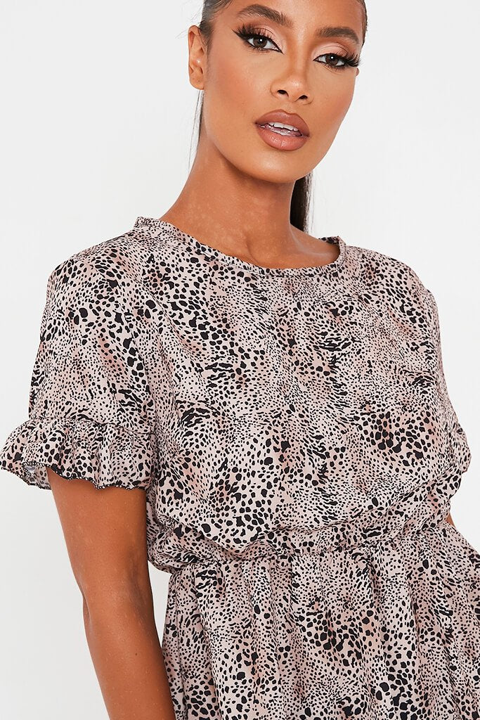 Brown Leopard Print Woven Short Sleeve Peplum Blouse view 4