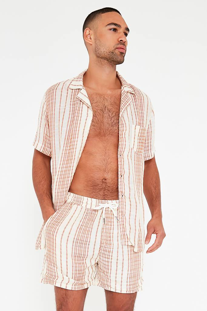 Beige Mens Striped Draw String Shorts