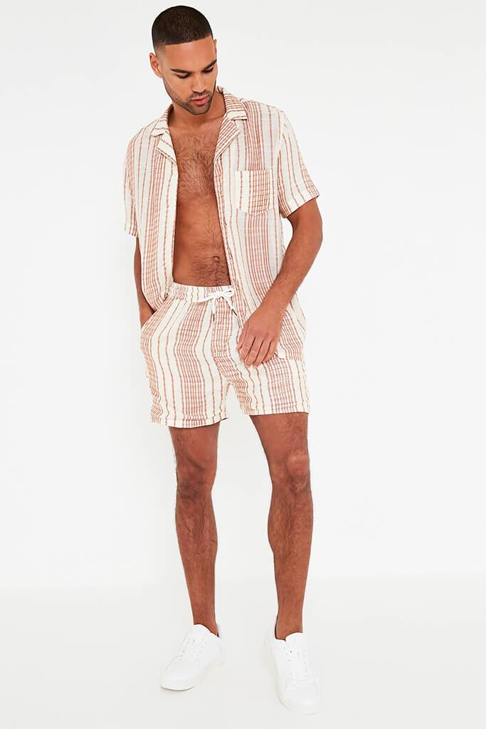 Beige Mens Striped Draw String Shorts view 2