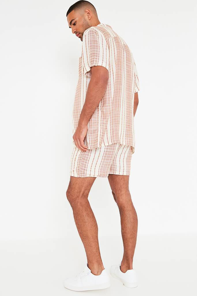 Beige Mens Striped Draw String Shorts view 3