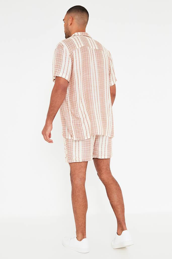 Beige Mens Striped Draw String Shorts view 5