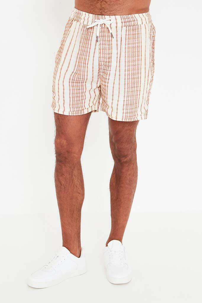 Beige Mens Striped Draw String Shorts view 4