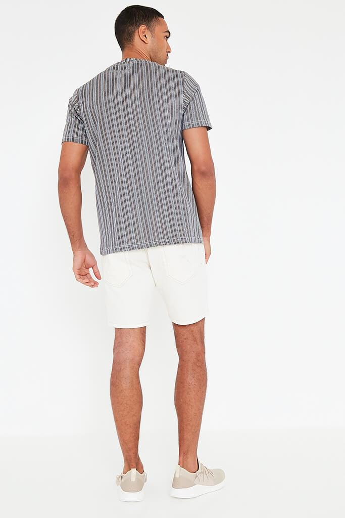 Grey Mens Striped T Shirt view 5