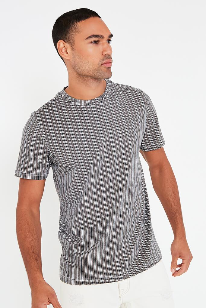 Grey Mens Striped T Shirt view main view