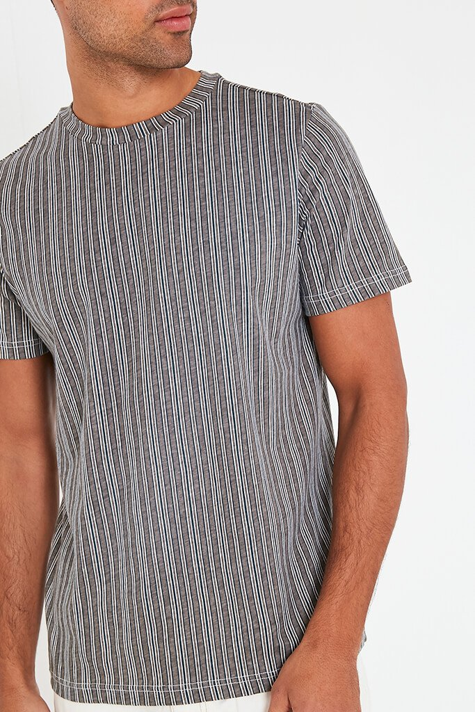 Grey Mens Striped T Shirt view 4