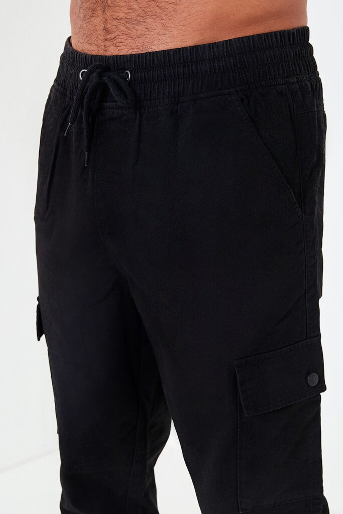 Black Mens Cargo Trousers view 2
