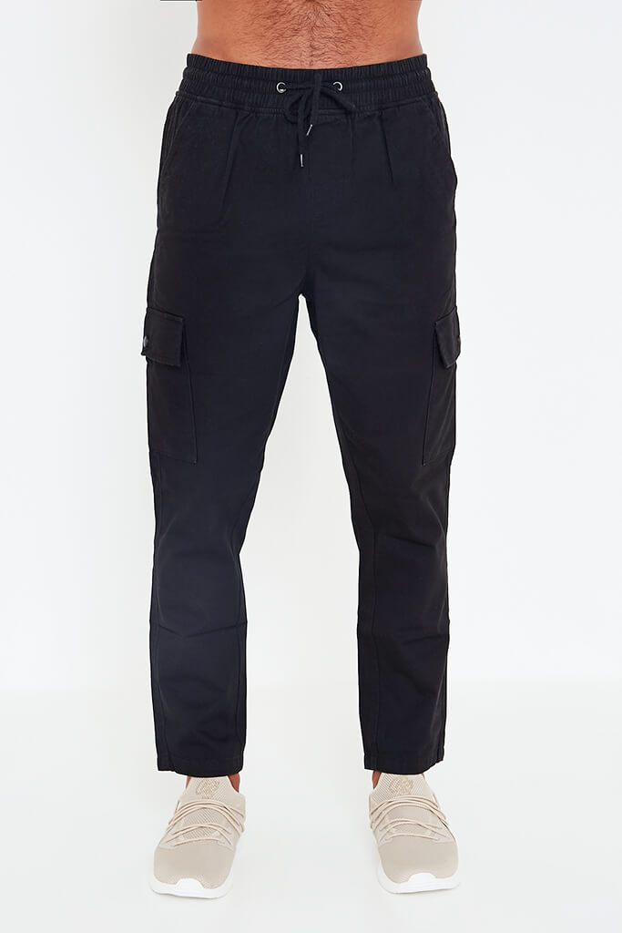 Black Mens Cargo Trousers