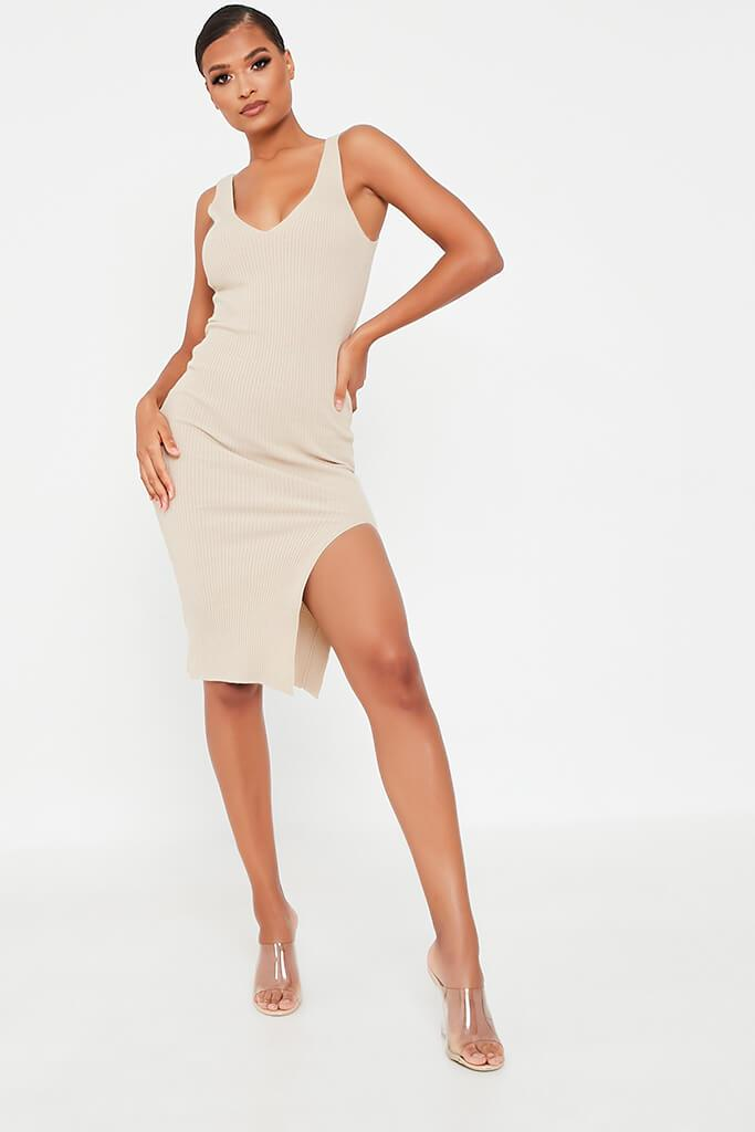 Stone Ribbed Knitted Midi Dress With Leg Slit