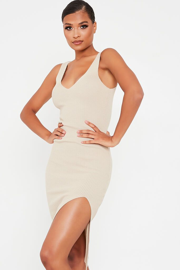 Stone Ribbed Knitted Midi Dress With Leg Slit view 2