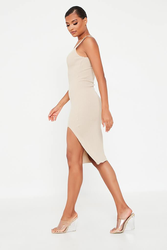 Stone Ribbed Knitted Midi Dress With Leg Slit view 3