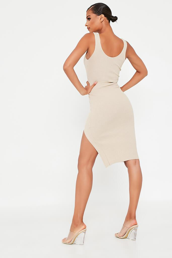 Stone Ribbed Knitted Midi Dress With Leg Slit view 5