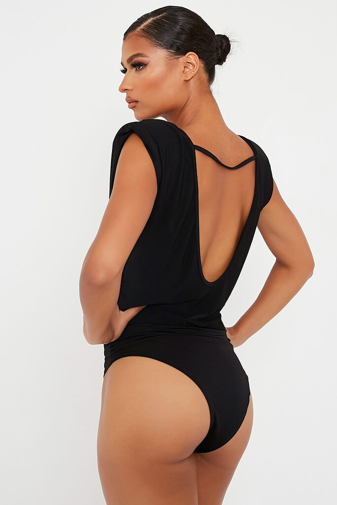 Black Shoulder Pad Sleeveless Open Back Bodysuit view 5