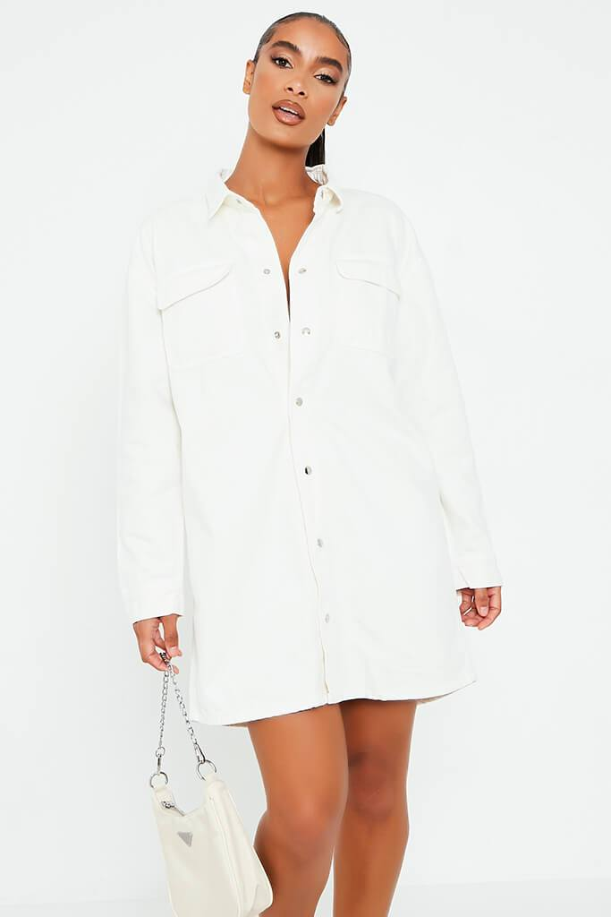 White Oversized Denim Shirt Dress