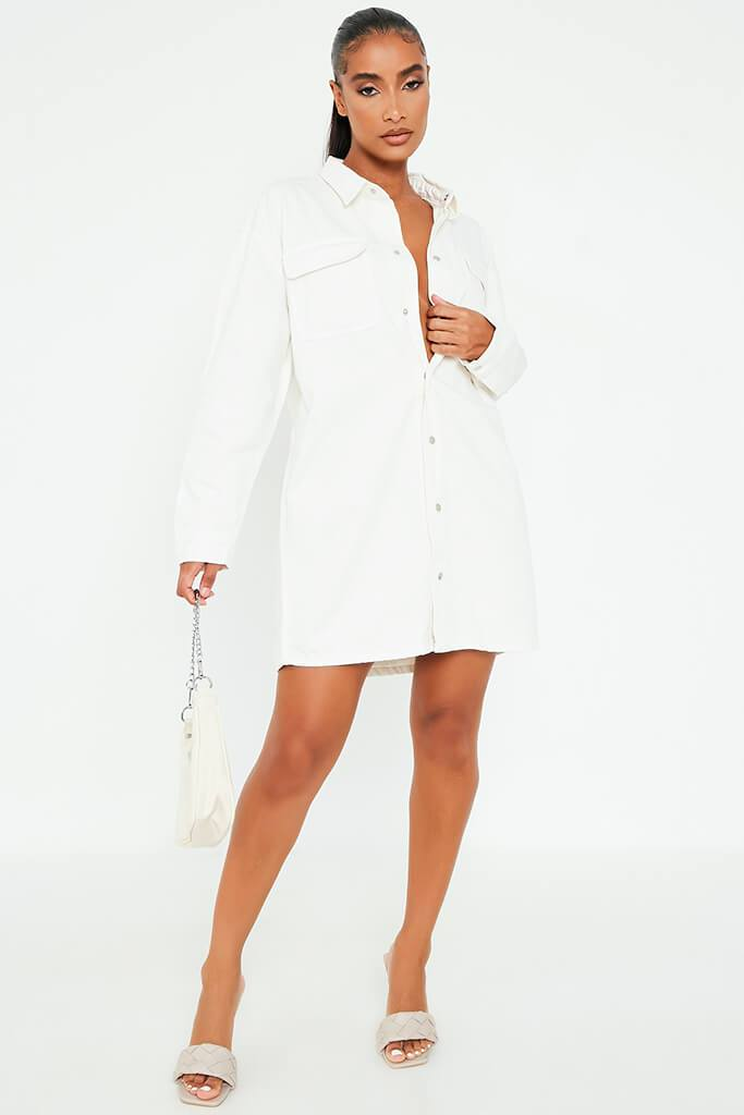 White Oversized Denim Shirt Dress view 2