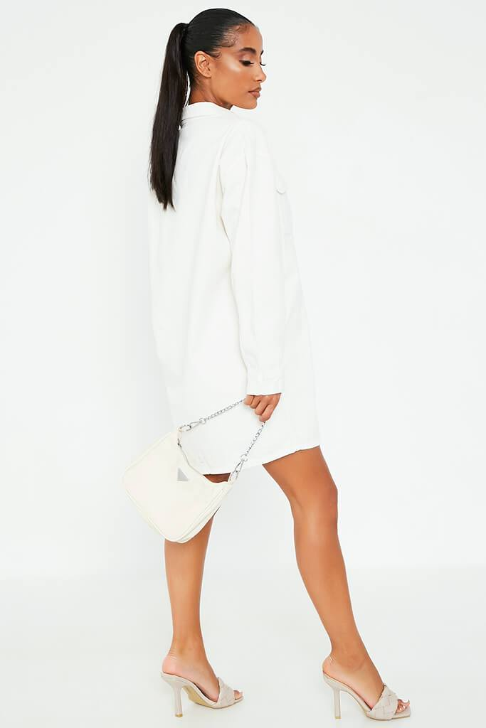 White Oversized Denim Shirt Dress view 3