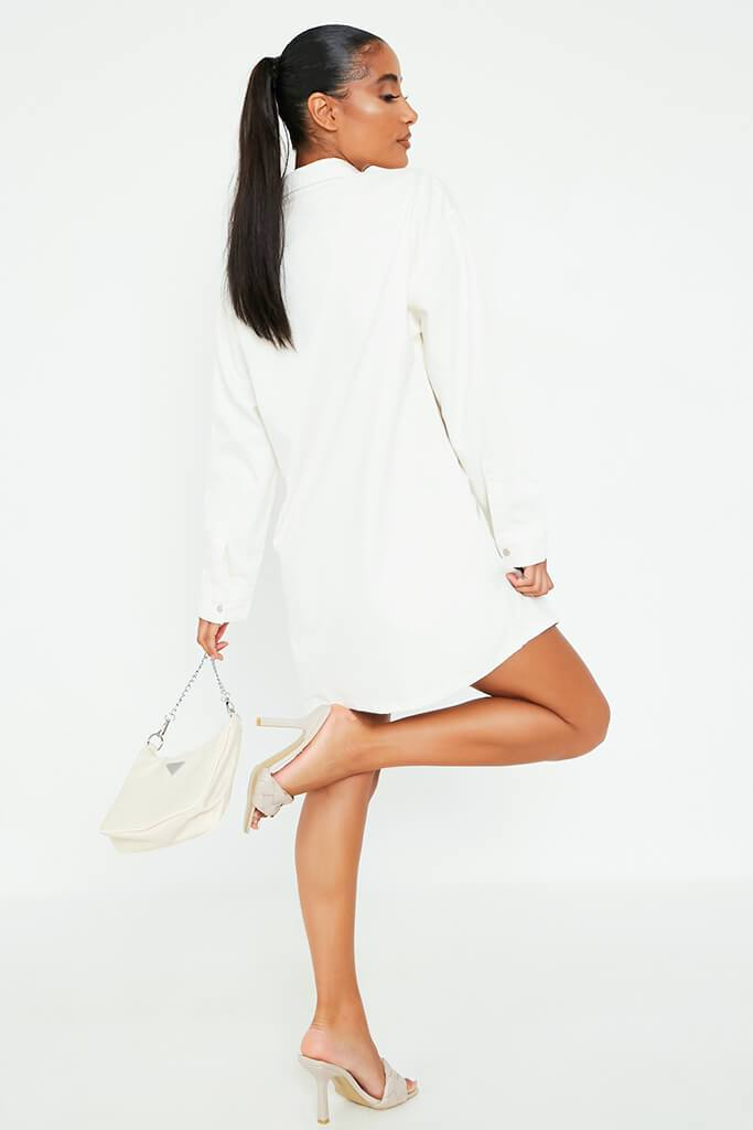 White Oversized Denim Shirt Dress view 5