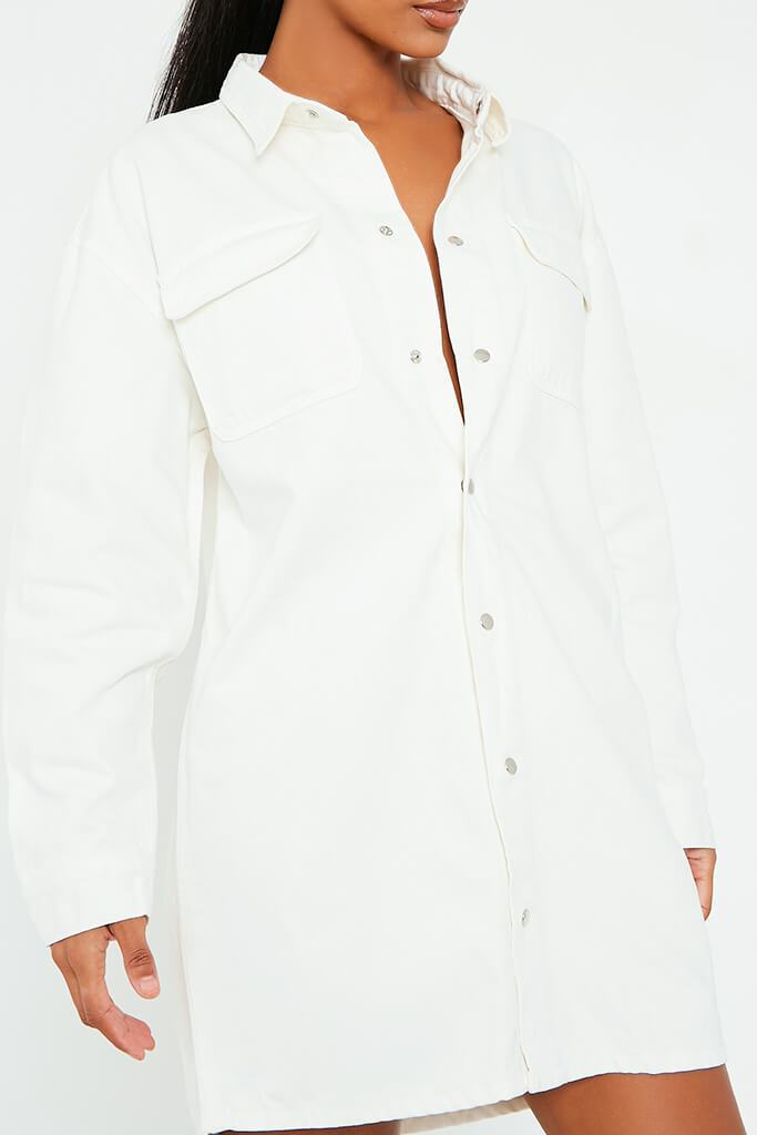 White Oversized Denim Shirt Dress view 4