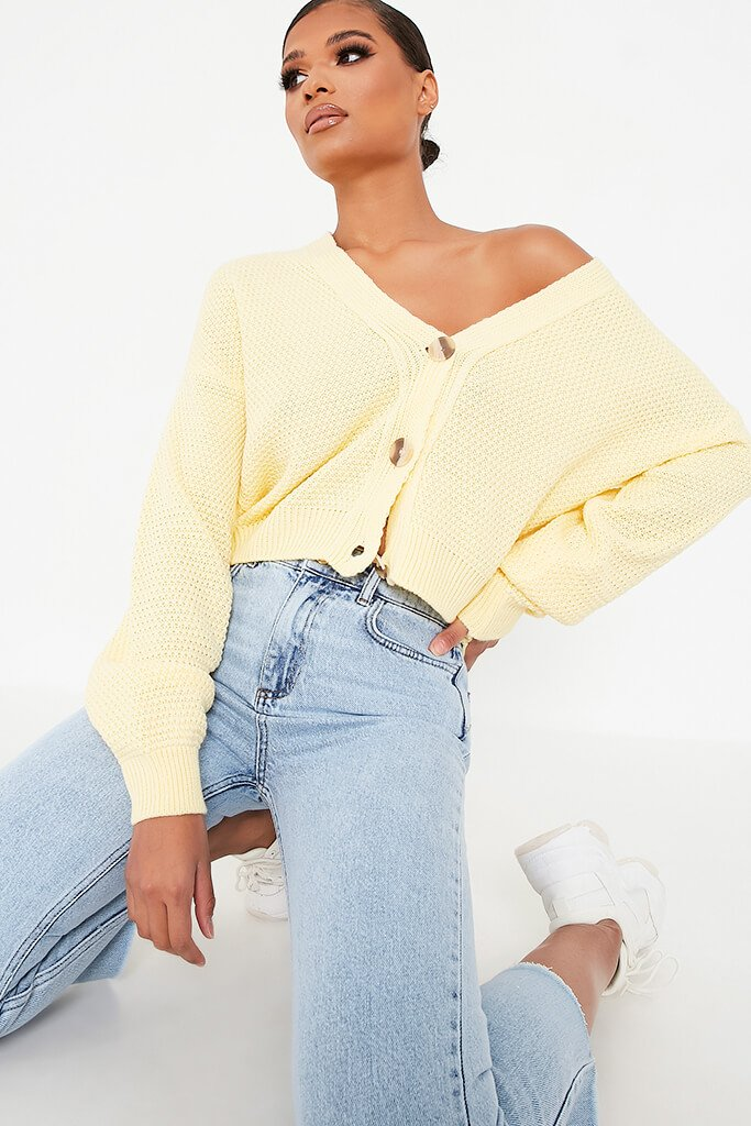 Lemon Waffle Knit Contrast Button Cardigan view main view