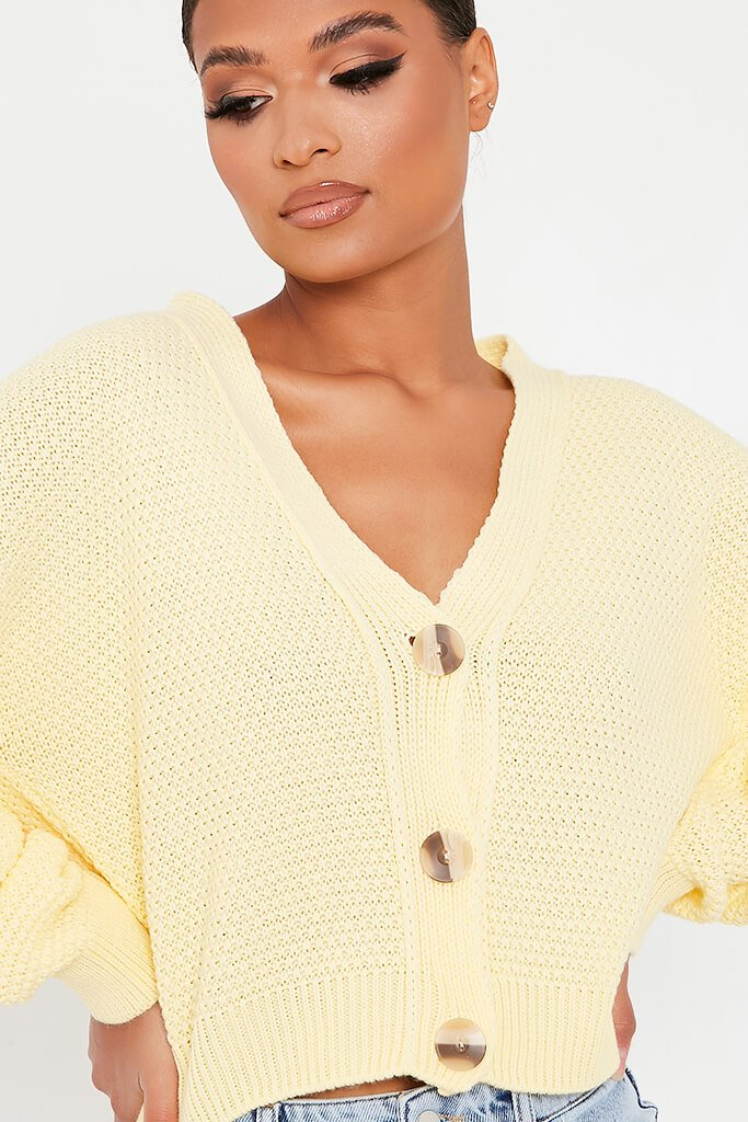 Lemon Waffle Knit Contrast Button Cardigan view 4