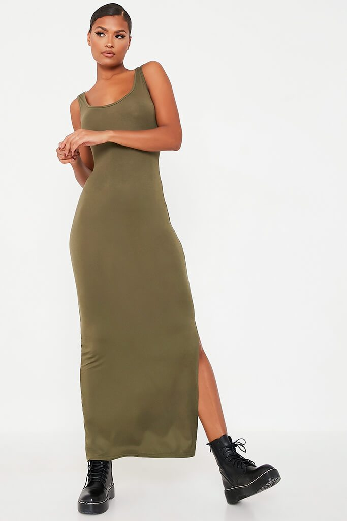 Khaki Basic Cotton Jersey Vest Maxi Dress