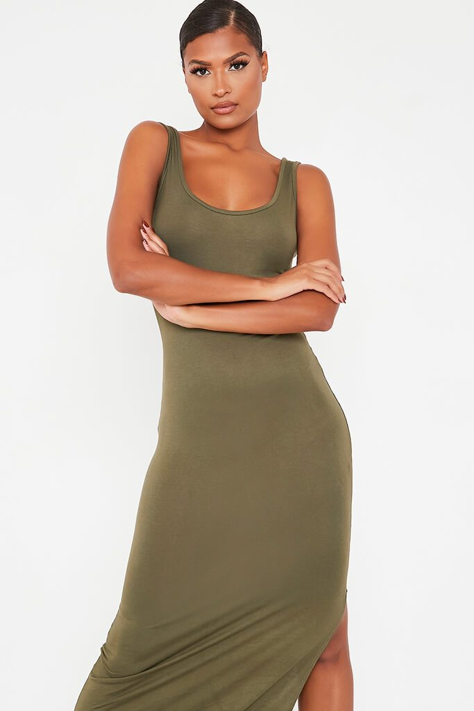 Khaki Basic Cotton Jersey Vest Maxi Dress view 2