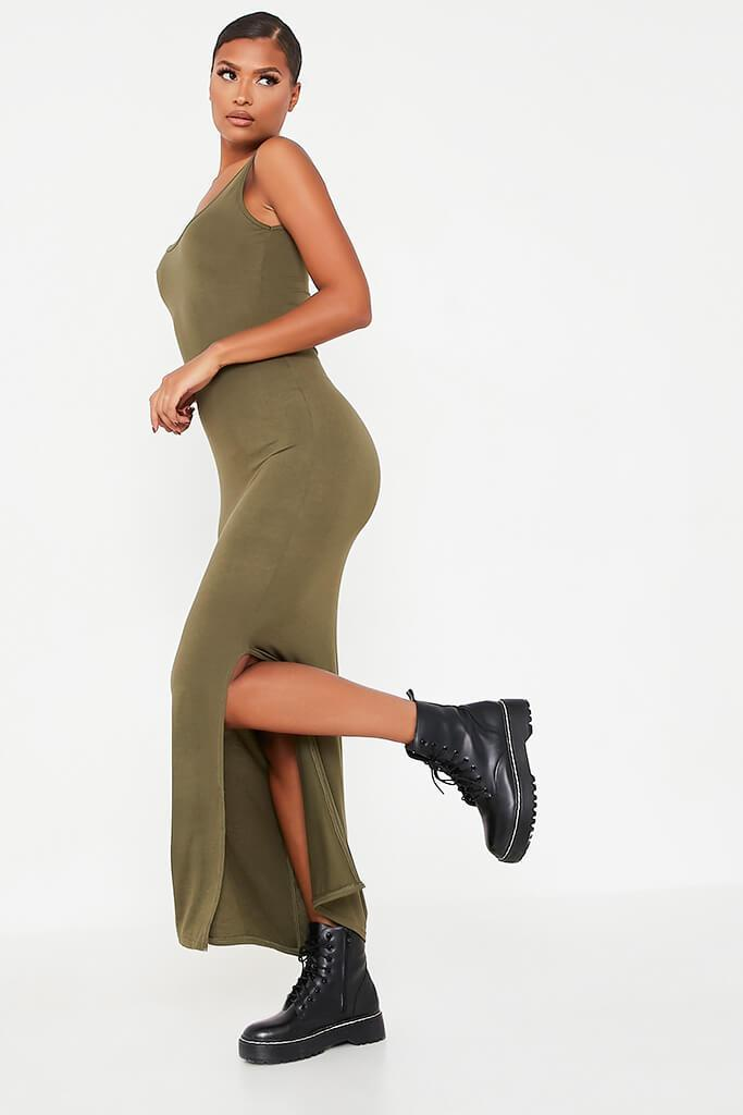 Khaki Basic Cotton Jersey Vest Maxi Dress view 3