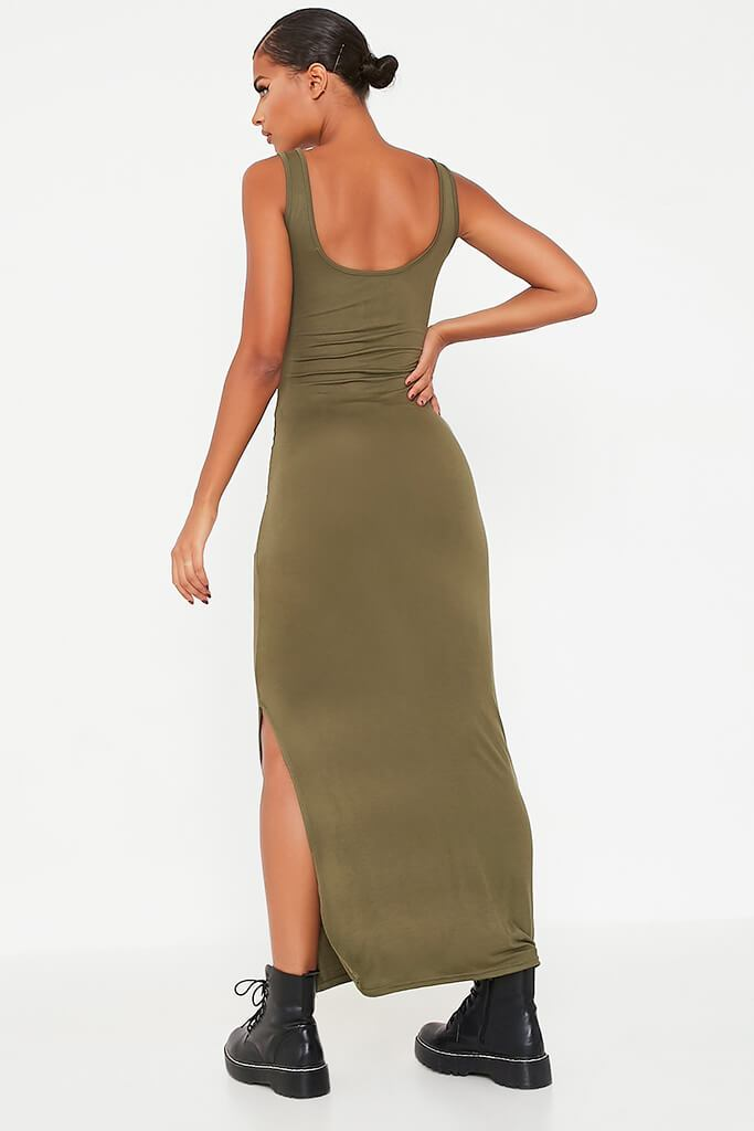 Khaki Basic Cotton Jersey Vest Maxi Dress view 4