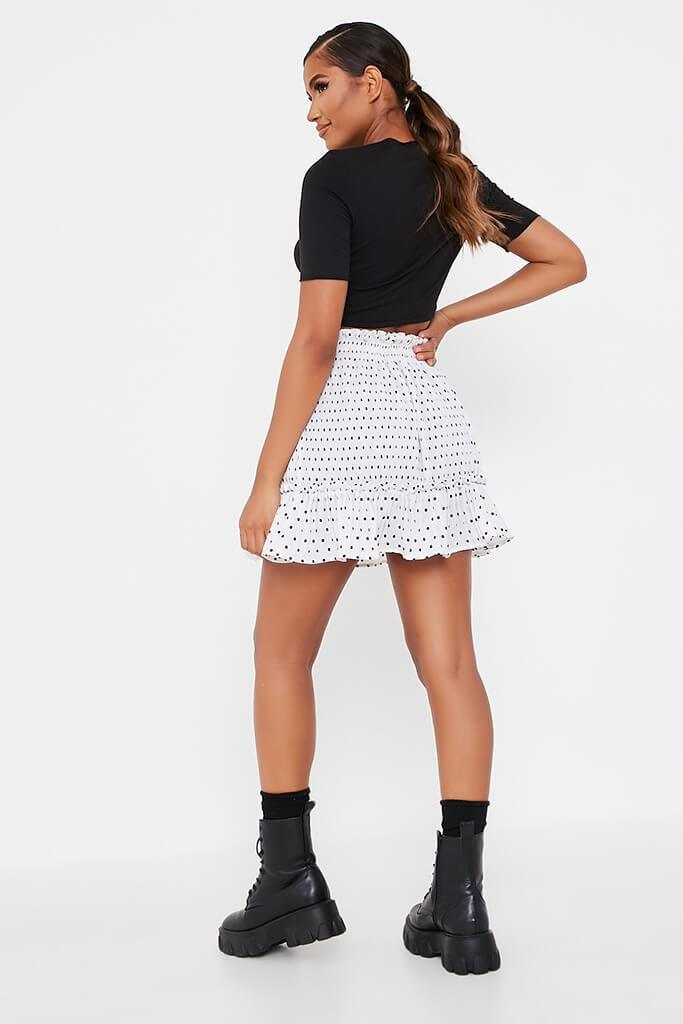 White Spotted Pleated Frill Skirt view 4