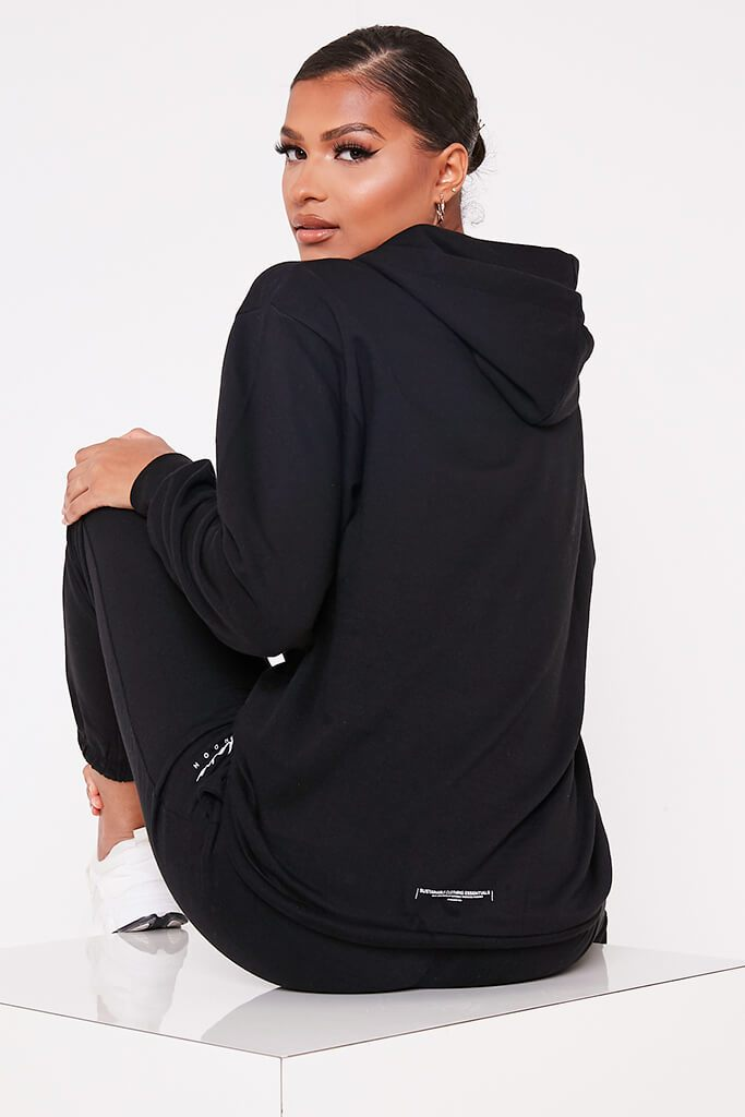 Black Recycled Drawstring Hoodie view main view