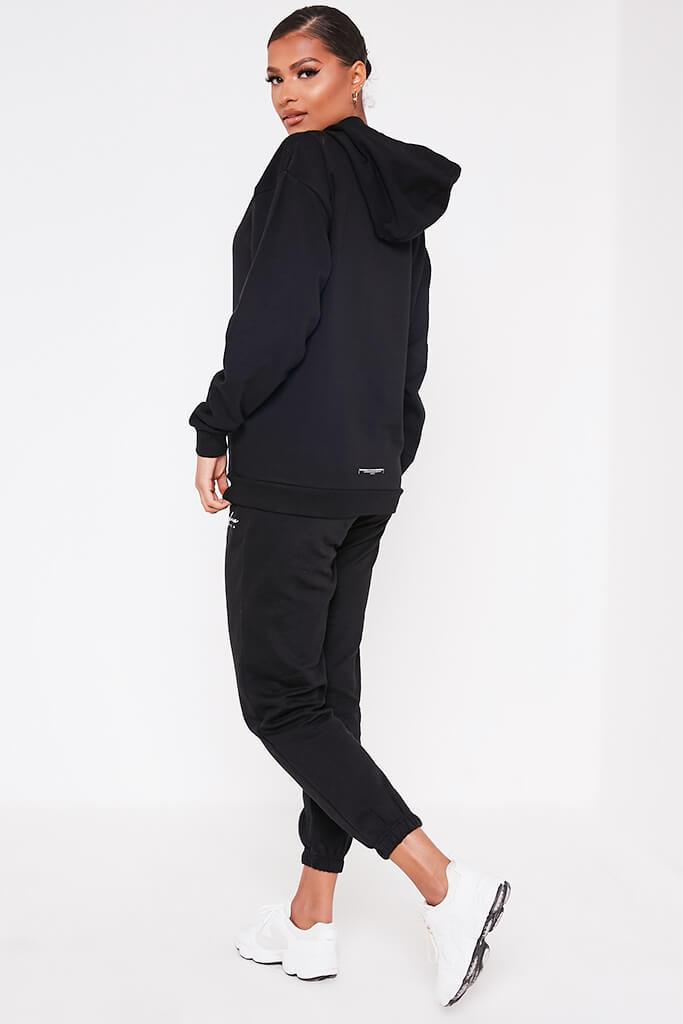 Black Recycled Drawstring Hoodie view 5