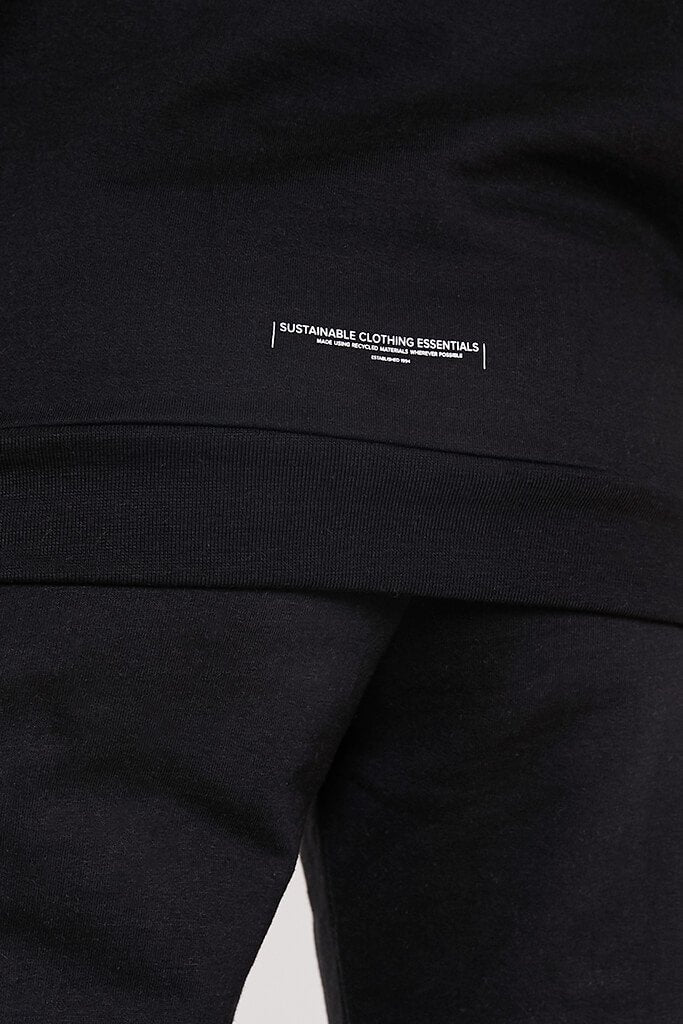 Black Recycled Drawstring Hoodie view 4