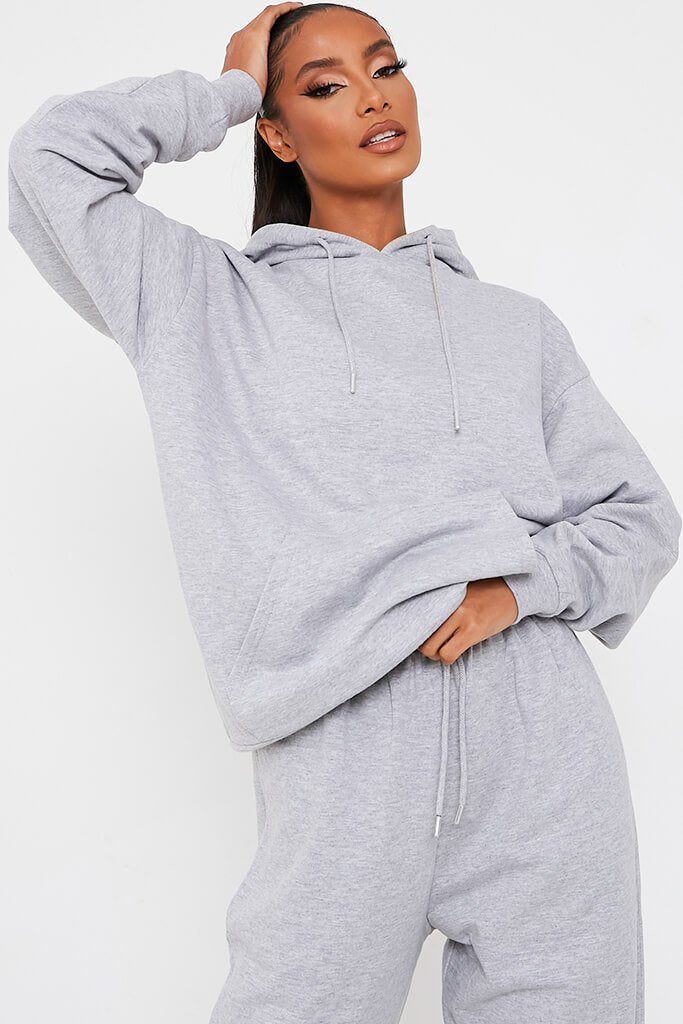 Grey Marl Recycled Drawstring Hoodie view main view