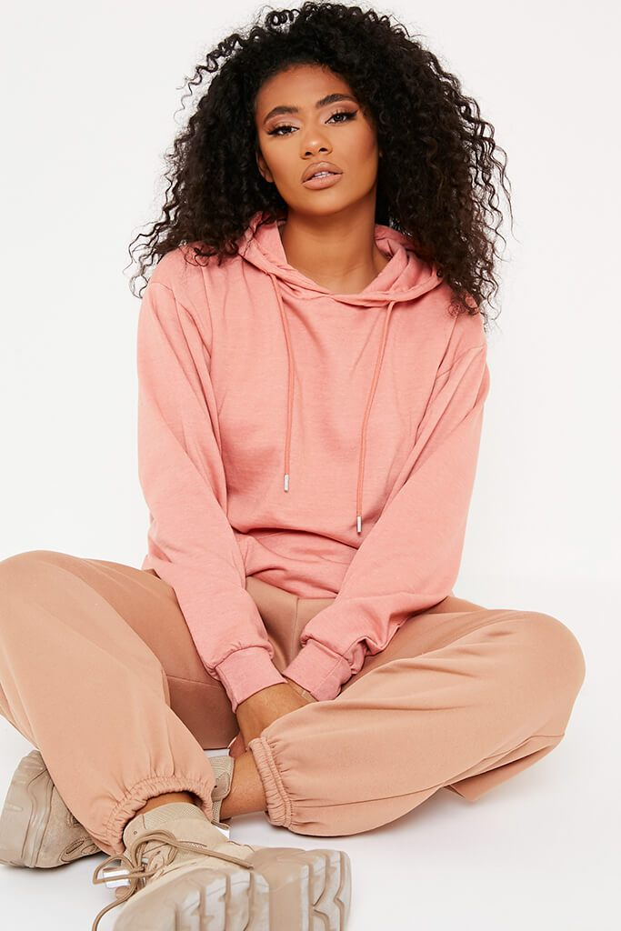 Rose Gold Recycled Drawstring Hoodie view main view