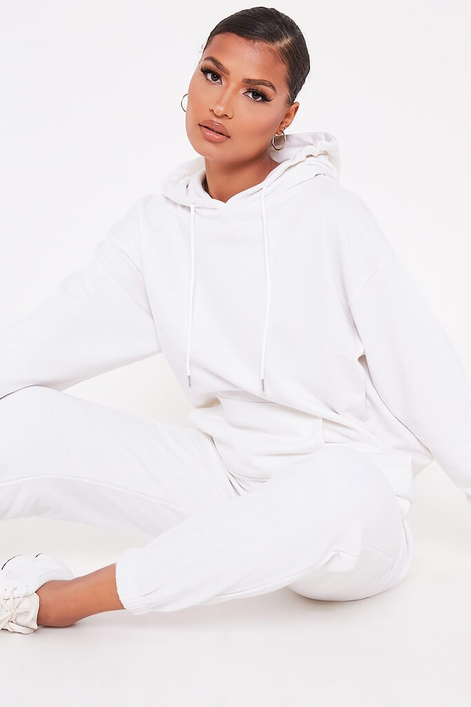 White Recycled Drawstring Hoodie view main view
