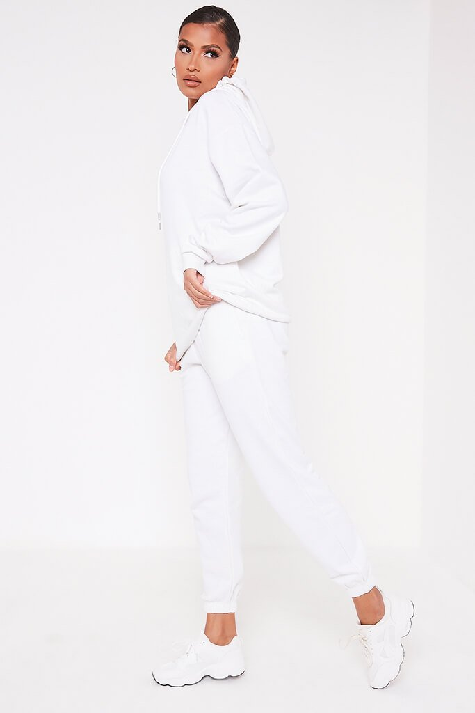 White Recycled Drawstring Hoodie view 3