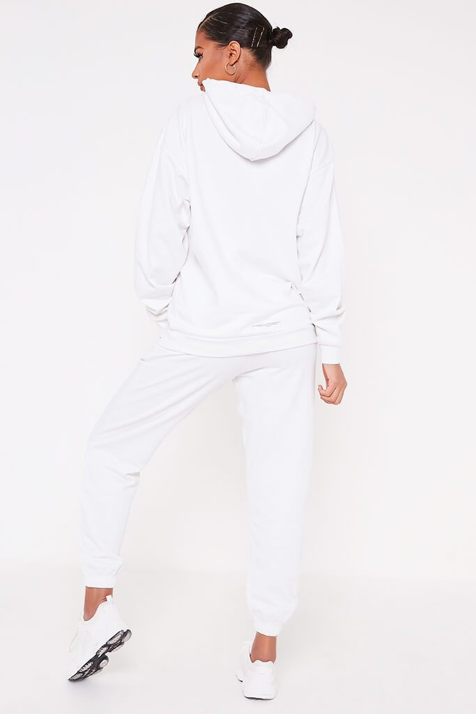 White Recycled Drawstring Hoodie view 5