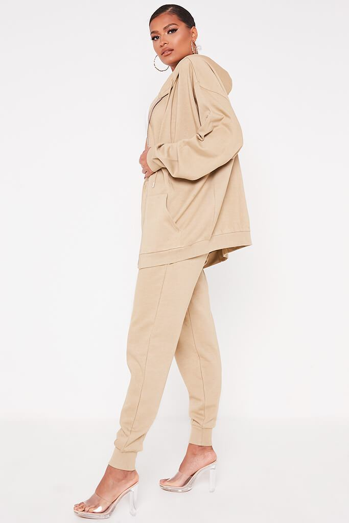 Sand Recycled Zip Up Hoodie view 3