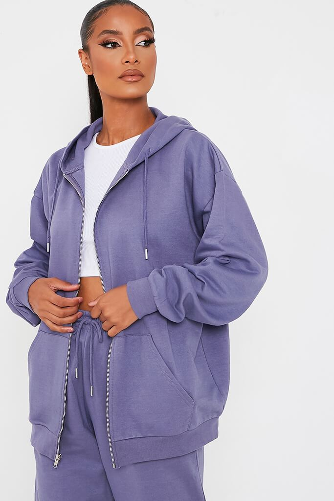Purple Recycled Zip Up Hoodie