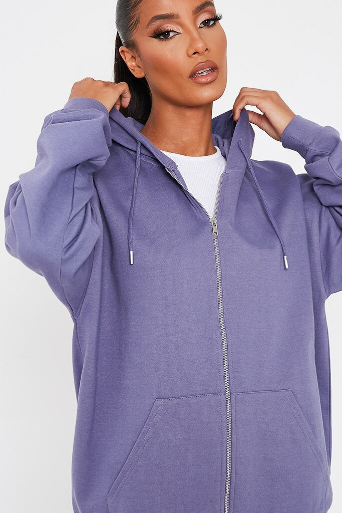 Purple Recycled Zip Up Hoodie view 4